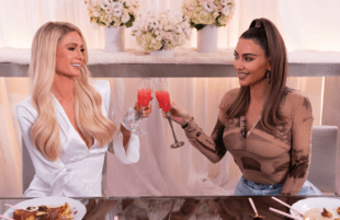 Kim Kardashian an oasis of normalcy and competence? As Paris Hilton's guest on Cooking With Paris, she is. (Photo: Kit Karzen/Netflix)