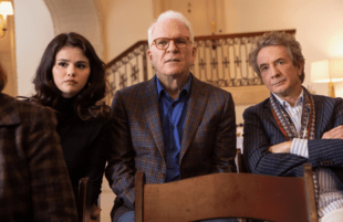 Selena Gomez, Martin Short and Steve Martin in Only Murders in the Building. (Photo by: Craig Blankenhorn/Hulu)