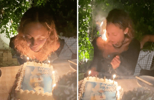 Nicole Ritchie accidentally sets her hair on fire blowing out birthday candles (Photos: Instagram)