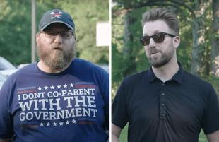 Jordan Klepper talks to an anti-mask parent at a North Carolina rally (Photo: Comedy Central)