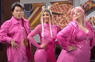 Bowen Yang, Kim Kardashian, and Aidy Bryant in SNL's unaired Costco sketch (Photo: NBC)