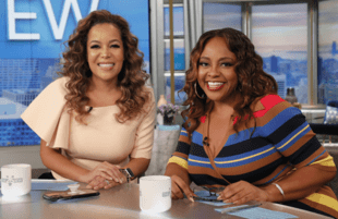 Sunny Hostin and Sherri Shepard strike a pose Monday morning on The View. (ABC/Lou Rocco)