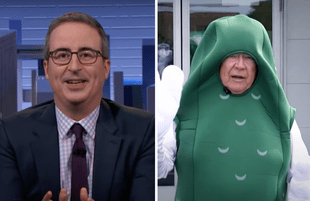 John Oliver on Last Week Tonight; man in a pickle suit (Photos: HBO)