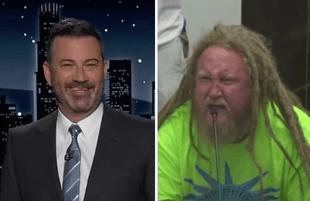 Jimmy Kimmel; a man protesting masks at a school board meeting (Photos: ABC)