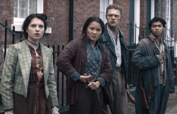 Darci Shaw, Thaddea Graham, Jojo Macari, McKell David in The Irregulars. (Netflix)