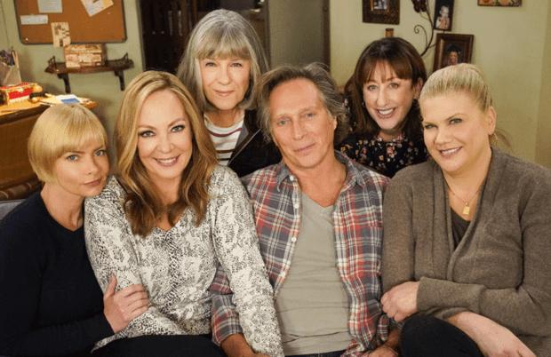 Jaime Pressly, Allison Janney, Mimi Kennedy, William Fichtner, Beth Hall and Kristen Johnston bid farewell to Mom tonight. (Robert Voets/CBS)