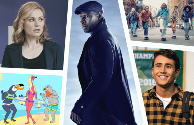 Clockwise from top: Lupin (Netflix), Betty (HBO), Love, Victor (Hulu), Tuca & Bertie (Adult Swim) and Flack (Amazon).